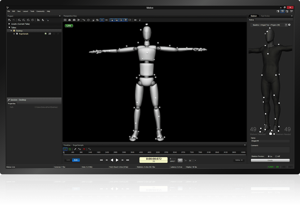 OptiTrack Motive:Body Screen Subject Skeleton